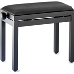Stagg Wooden Piano Bench Matt Black with Black Ribbed Velvet Top