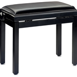 Stagg Wooden Piano Bench High Gloss Black with Black Vinyl Top