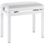 Stagg Wooden Piano Bench Matte White with White Velvet Top